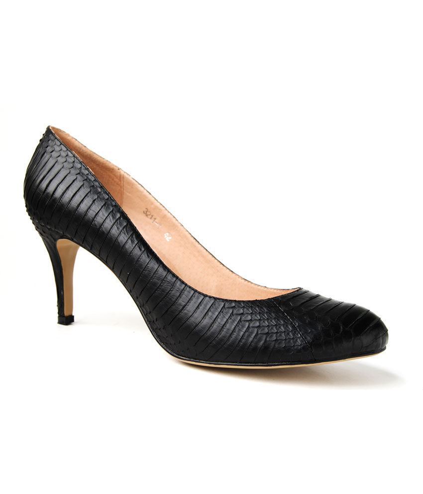 Womens Large Size Shoes | Nat-Sui Classic Black Court Heel -Side