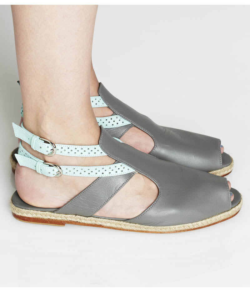 Womens Large Size Shoes | Dot & Pete Misfit Sandal Grey - On Foot