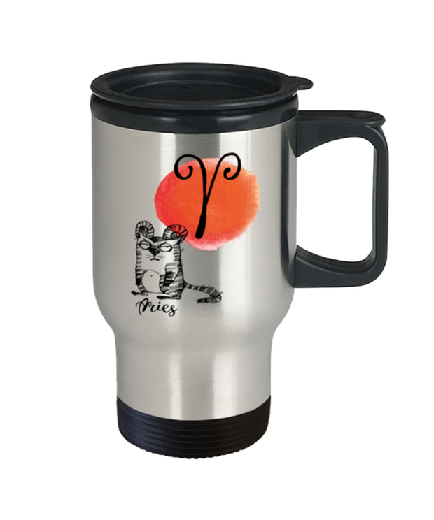 Aries Astrology Cat 14 oz Stainless Steel Travel Coffee Mug w/ Lid, Gift For Aries Cat Lovers, Novelty Coffee Mugs Gift For Mom, Sister, Daughter, Aunt, Birthday Present Ideas For Aries Cat Lovers