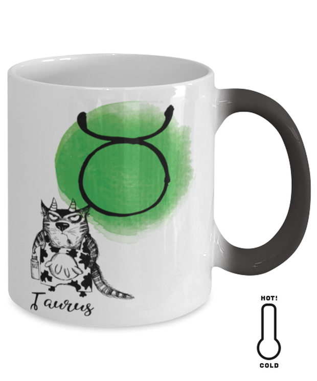 Taurus Astrology Cat Color Changing Coffee Mug, Gift For Taurus Cat Lovers, Novelty Coffee Mugs Gift For Mom, Sister, Daughter, Aunt, Birthday Present Ideas For Taurus Cat Lovers