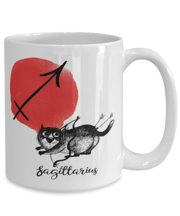 Sagittarius Astrology Cat 15 oz White Coffee Mug, Gift For Sagittarius Cat Lovers, Novelty Coffee Mugs Gift For Mom, Sister, Birthday Present Ideas For Sagittarius Cat Lovers