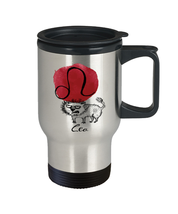 Leo Astrology Cat 14 oz Stainless Steel Travel Coffee Mug w/ Lid, Gift For Leo Cat Lovers, Novelty Coffee Mugs Gift For Mom, Sister, Daughter, Aunt, Birthday Present Ideas For Leo Cat Lovers