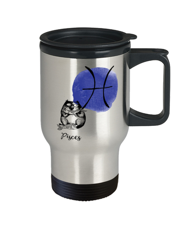 Pisces Astrology Cat 14 oz Stainless Steel Travel Coffee Mug w/ Lid, Gift For Pisces Cat Lovers, Novelty Coffee Mugs Gift For Mom, Sister, Daughter, Aunt, Birthday Present Ideas For Pisces Cat Lovers