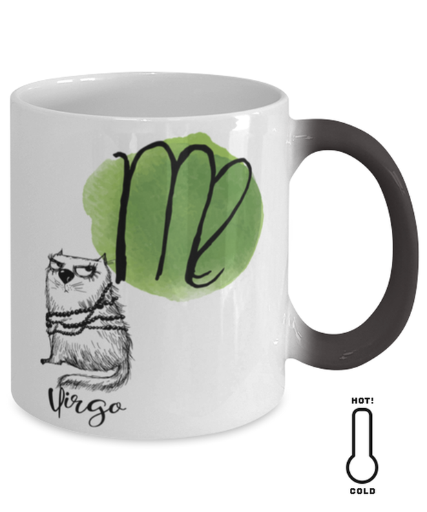 Virgo Astrology Cat Color Changing Coffee Mug, Gift For Virgo Cat Lovers, Novelty Coffee Mugs Gift For Mom, Sister, Daughter, Aunt, Birthday Present Ideas For Virgo Cat Lovers