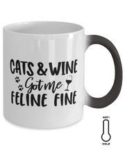 Cats & Wine Got Me Feline Fine Color Changing Coffee Mug, Gift For Cat And Wine Lovers, Novelty Coffee Mugs Gift For Her, Birthday, Just Because Present Ideas For Cat And Wine Lovers