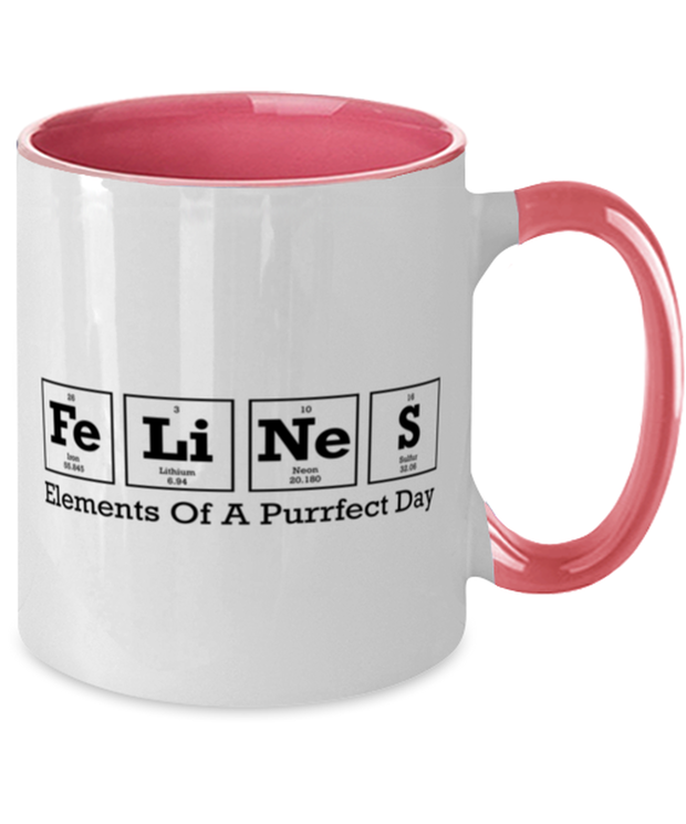 Felines Elements Of A Purrfect Day 11oz Pink Two Tone Coffee Mug, Gift For Cat And Chemistry Lovers, Novelty Coffee Mugs Gift For Her, Birthday Present Ideas For Cat And Chemistry Lovers
