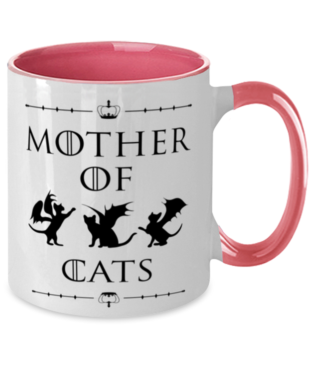 Mother Of Dragon Cats 11oz Pink Two Tone Coffee Mug, Gift For Cat And Game Of Thrones Lovers, Novelty Coffee Mugs Gift For Her, Mother's Day Present Ideas For Cat And Game Of Thrones Lovers