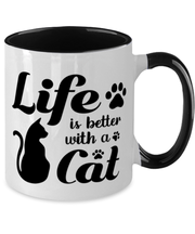 Life is Better with a Cat 11oz Black Two Tone Coffee Mug, Gift For Cat Lovers, Novelty Coffee Mugs Gift For Her, Birthday, Just Because, Present Ideas For Cat Lovers