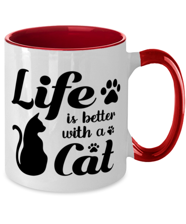 Life is Better with a Cat 11oz Red Two Tone Coffee Mug, Gift For Cat Lovers, Novelty Coffee Mugs Gift For Her, Birthday, Just Because, Present Ideas For Cat Lovers