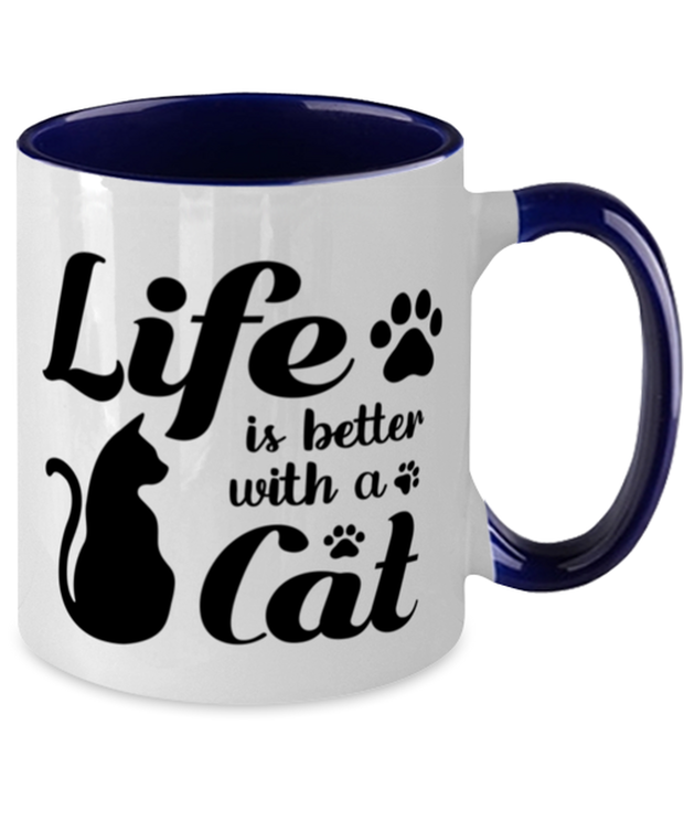 Life is Better with a Cat 11oz Navy Two Tone Coffee Mug, Gift For Cat Lovers, Novelty Coffee Mugs Gift For Her, Birthday, Just Because, Present Ideas For Cat Lovers
