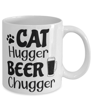 Cat Hugger Beer Chugger 11 oz White Coffee Mug, Gift For Cats And Beer Lovers, Novelty Coffee Mugs Gift For Her, Him, Birthday Present Ideas For Cats And Beer Lovers
