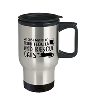 Want To Drink Tequila Rescue Cats 14 oz Stainless Steel Travel Coffee Mug w/ Lid, Gift For Cats And Tequila Lovers, Novelty Coffee Mugs Gift For Her, Birthday Present Ideas For Cats And Tequila Lovers
