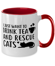 Want To Drink Tea Rescue Cats 11oz Red Two Tone Coffee Mug, Gift For Cats And Tea Lovers, Novelty Coffee Mugs Gift For Her, Birthday Present Ideas For Cats And Tea Lovers