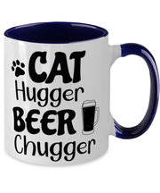 Cat Hugger Beer Chugger 11oz Navy Two Tone Coffee Mug, Gift For Cats And Beer Lovers, Novelty Coffee Mugs Gift For Her, Him, Birthday Present Ideas For Cats And Beer Lovers