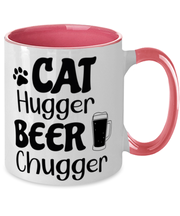 Cat Hugger Beer Chugger 11oz Pink Two Tone Coffee Mug, Gift For Cats And Beer Lovers, Novelty Coffee Mugs Gift For Her, Him, Birthday Present Ideas For Cats And Beer Lovers