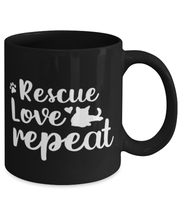 Rescue Love Repeat 11 oz Black Coffee Mug, Gift For Cat Rescuers, Novelty Coffee Mugs Gift For Mom, Mother, Grandmother, Birthday, Just Because, Present Ideas For Cat Rescuers