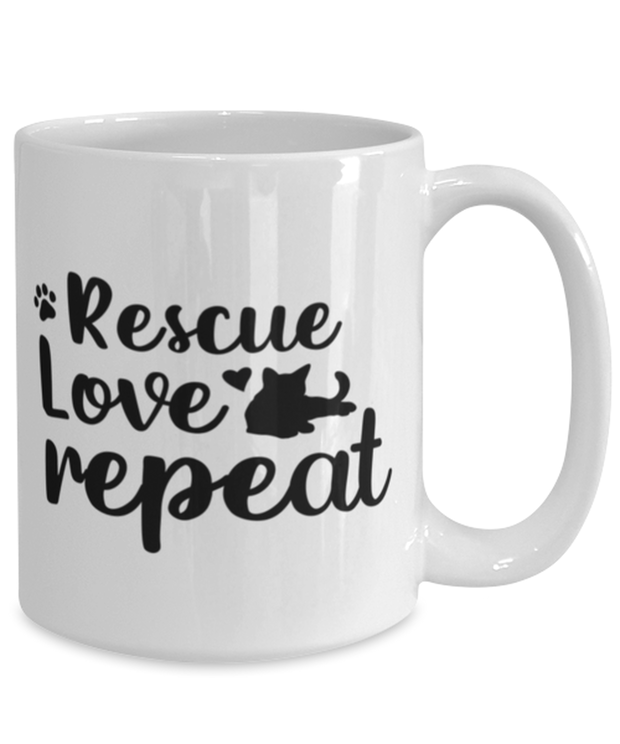 Rescue Love Repeat 15 oz White Coffee Mug, Gift For Cat Rescuers, Novelty Coffee Mugs Gift For Mom, Mother, Grandmother, Birthday, Just Because, Present Ideas For Cat Rescuers