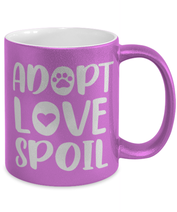Adopt Love Spoil 11 oz Metallic Purple Mug, Gift For Cat Adopters , Novelty Coffee Mugs Gift For Mom, Mother, Grandmother, Birthday, Just Because, Present Ideas For Cat Adopters