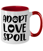 Adopt Love Spoil 11oz Red Two Tone Coffee Mug, Gift For Cat Adopters , Novelty Coffee Mugs Gift For Mom, Mother, Grandmother, Birthday, Just Because, Present Ideas For Cat Adopters