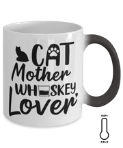 Cat Mother Whiskey Lover Color Changing Coffee Mug, Gift For Cat And Whiskey Lovers, Novelty Coffee Mugs Gift For Her, Mother's Day Present Ideas For Cat And Whiskey Lovers