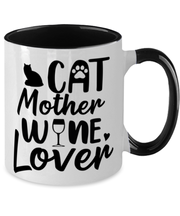 Cat Mother Wine Lover 11oz Black Two Tone Coffee Mug, Gift For Cat And Wine Lovers, Novelty Coffee Mugs Gift For Her, Mother's Day Present Ideas For Cat And Wine Lovers
