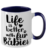 Life is Better with Fur Babies 11oz Navy Two Tone Coffee Mug, Gift For Cat Lovers, Novelty Coffee Mugs Gift For Her, Mom, Mother,, Birthday, Just Because Present Ideas For Cat Lovers