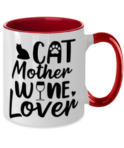 Cat Mother Wine Lover 11oz Red Two Tone Coffee Mug, Gift For Cat And Wine Lovers, Novelty Coffee Mugs Gift For Her, Mother's Day Present Ideas For Cat And Wine Lovers