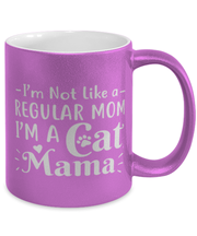 I'm Not Like a Regular Mom I'm a Cat Mama 11 oz Metallic Purple Mug, Gift For Cat Moms, Novelty Coffee Mugs Gift For Mom, Aunt, Sister, Mother's Day Present Ideas For Cat Moms