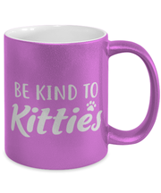 Be Kind To Kitties 11 oz Metallic Purple Mug, Gift For Cat Lovers, Novelty Coffee Mugs Gift For Mom, Sister, Daughter, Aunt, Birthday, Just Because Present Ideas For Cat Lovers