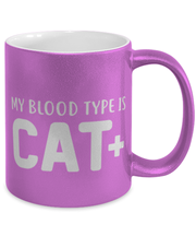 My Blood Type Is CAT Plus 11 oz Metallic Purple Mug, Gift For Cat Lovers, Novelty Coffee Mugs Gift For Her, Sister, Friend, Birthday, Just Because Present Ideas For Cat Lovers