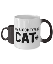 My Blood Type Is CAT Plus Color Changing Coffee Mug, Gift For Cat Lovers, Novelty Coffee Mugs Gift For Her, Sister, Friend, Birthday, Just Because Present Ideas For Cat Lovers