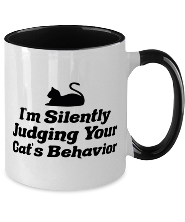 Silently Judging Your Cat's Behavior 11oz Black Two Tone Coffee Mug, Gift For Cat Lovers, Novelty Coffee Mugs Gift For Her, Him, Birthday, Just Because Present Ideas For Cat Lovers