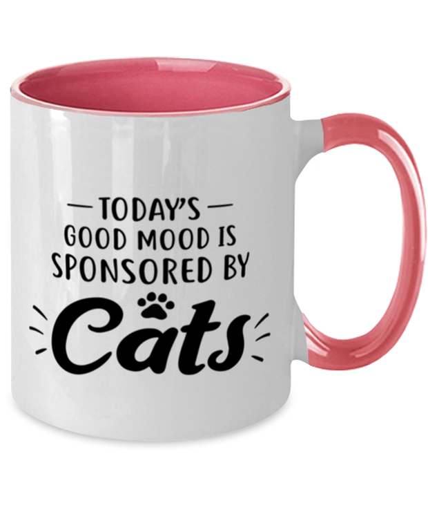 Today's Good Mood Sponsored By Cats 11oz Pink Two Tone Coffee Mug, Gift For Cat Lovers, Novelty Coffee Mugs Gift For Her, Birthday, Just Because Present Ideas For Cat Lovers