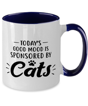 Today's Good Mood Sponsored By Cats 11oz Navy Two Tone Coffee Mug, Gift For Cat Lovers, Novelty Coffee Mugs Gift For Her, Birthday, Just Because Present Ideas For Cat Lovers