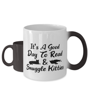 It's A Good Day To Read & Snuggle Kitties Color Changing Coffee Mug, Gift For Cat And Book Lovers, Novelty Coffee Mugs Gift For Her, Birthday Present Ideas For Cat And Book Lovers
