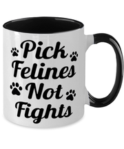 Pick Felines Not Fights 11oz Black Two Tone Coffee Mug, Gift For Cat Lovers, Novelty Coffee Mugs Gift For Her, Him, Birthday, Just Because Present Ideas For Cat Lovers