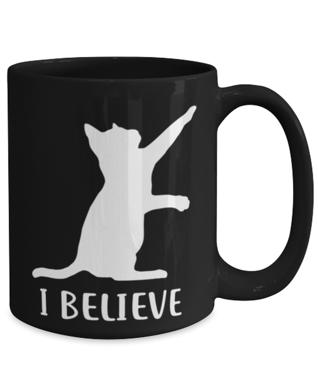 I Believe 15 oz Black Coffee Mug, Gift For Cat Lovers, Novelty Coffee Mugs Gift For Dad, Father, Brother, Birthday, Just Because Present Ideas For Cat Lovers