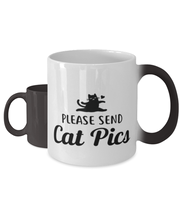 Please Send Cat Pics Color Changing Coffee Mug, Gift For Cat Lovers, Novelty Coffee Mugs Gift For Friend, Sister, Daughter, Birthday, Just Because Present Ideas For Cat Lovers