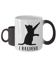 I Believe Color Changing Coffee Mug, Gift For Cat Lovers, Novelty Coffee Mugs Gift For Dad, Father, Brother, Birthday, Just Because Present Ideas For Cat Lovers