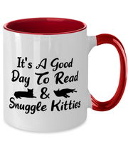 It's A Good Day To Read & Snuggle Kitties 11oz Red Two Tone Coffee Mug, Gift For Cat And Book Lovers, Novelty Coffee Mugs Gift For Her, Birthday Present Ideas For Cat And Book Lovers