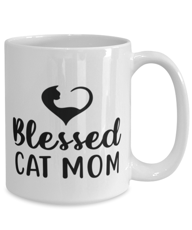 Blessed Cat Mom 15 oz White Coffee Mug, Gift For Cat Moms, Novelty Coffee Mugs Gift For Mom, Daughter, Sister, Friend, Mother's Day, Birthday Present Ideas For Cat Moms