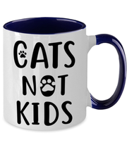Cats Not Kids 11oz Navy Two Tone Coffee Mug, Gift For Cat Lovers, Novelty Coffee Mugs Gift For Her, Sister, Friend, Birthday, Just Because Present Ideas For Cat Lovers