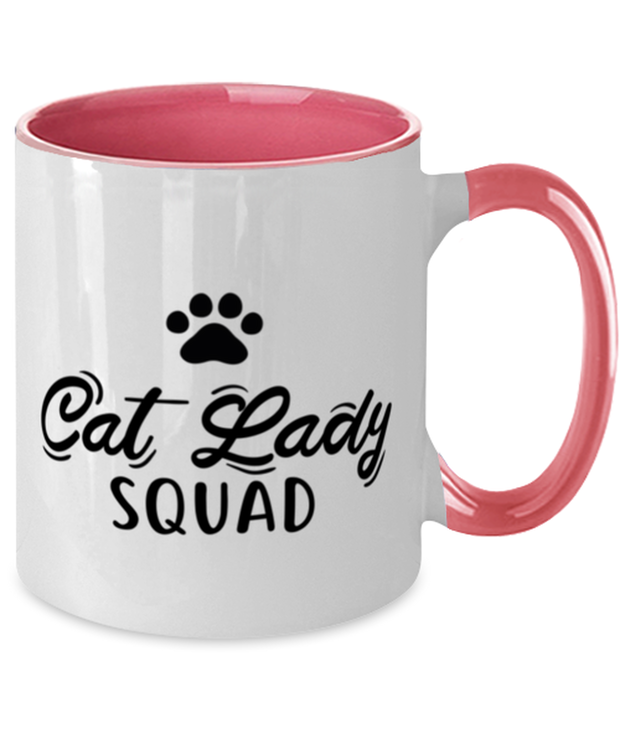 Cat Lady Squad 11oz Pink Two Tone Coffee Mug, Gift For Cat Ladies, Novelty Coffee Mugs Gift For Daughters, Sisters, Friends, Birthday, Just Because Present Ideas For Cat Ladies