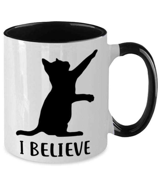 I Believe 11oz Black Two Tone Coffee Mug, Gift For Cat Lovers, Novelty Coffee Mugs Gift For Dad, Father, Brother, Birthday, Just Because Present Ideas For Cat Lovers