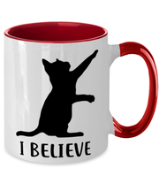 I Believe 11oz Red Two Tone Coffee Mug, Gift For Cat Lovers, Novelty Coffee Mugs Gift For Dad, Father, Brother, Birthday, Just Because Present Ideas For Cat Lovers