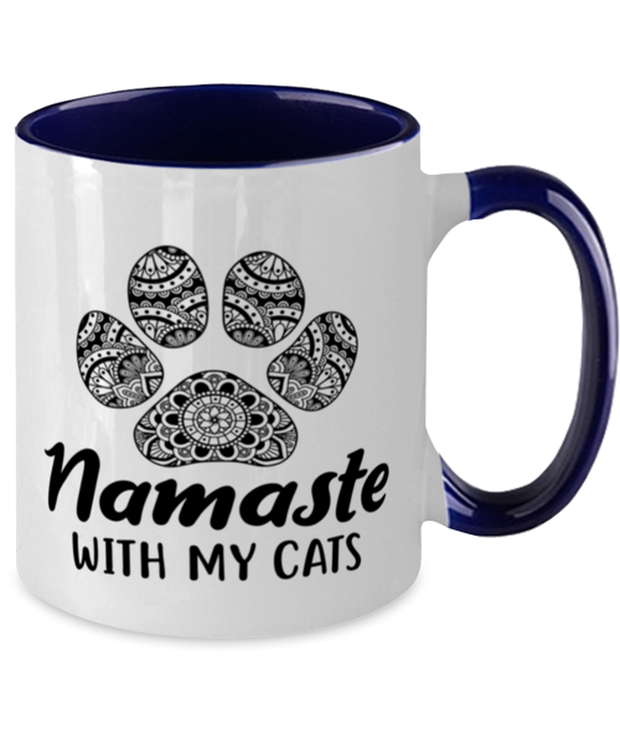 Namaste Home With My Cats 11oz Navy Two Tone Coffee Mug, Gift For Cat And Yoga Lovers, Novelty Coffee Mugs Gift For Her, Birthday, Just Because Present Ideas For Cat And Yoga Lovers