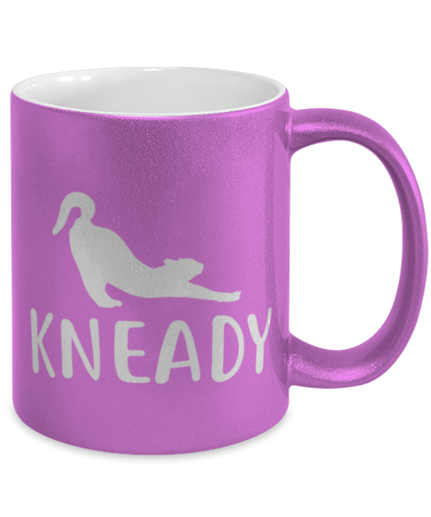 Kneady 11 oz Metallic Purple Mug, Gift For Cat Lovers, Novelty Coffee Mugs Gift For Her, Sister, Friend, Birthday, Just Because Present Ideas For Cat Lovers