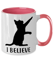 I Believe 11oz Pink Two Tone Coffee Mug, Gift For Cat Lovers, Novelty Coffee Mugs Gift For Dad, Father, Brother, Birthday, Just Because Present Ideas For Cat Lovers