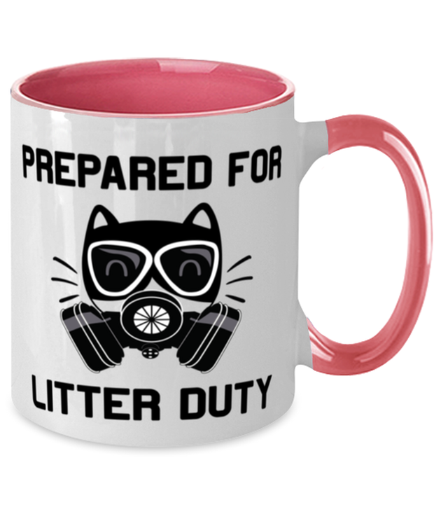 Prepared For Litter Duty 11oz Pink Two Tone Coffee Mug, Gift For Cat Lovers, Novelty Coffee Mugs Gift For Him, Her, Birthday, Just Because Present Ideas For Cat Lovers