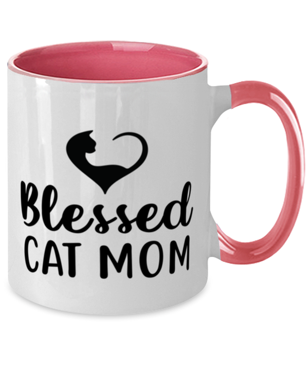 Blessed Cat Mom 11oz Pink Two Tone Coffee Mug, Gift For Cat Moms, Novelty Coffee Mugs Gift For Mom, Daughter, Sister, Friend, Mother's Day, Birthday Present Ideas For Cat Moms